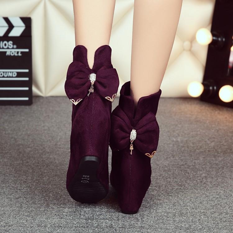 欧美新品女靴秋冬潮款粗跟短靴防水台高跟系带马丁靴及踝靴女鞋子