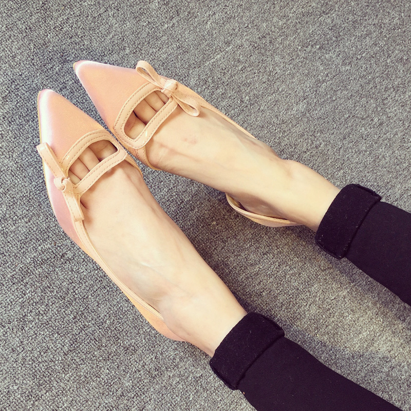 韩国公主尖头女鞋 性感平底单鞋blingbling水钻蝴蝶结绸缎面平跟