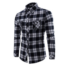 Men's Shirt Fashion Men's Shirt Casual Plaid Cotton shirts for men