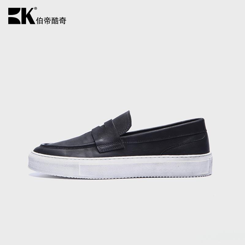 夏季新款真皮豆豆鞋男简约皮鞋懒人韩版休闲鞋乐福鞋低帮情侣鞋子