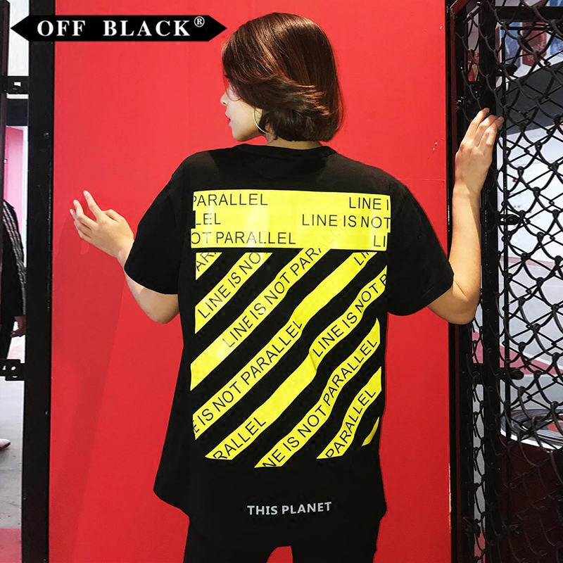 db4175e85d2e 18SS summer new OFF BLACK yellow cordon printing WHITE men and women with  the paragraph OW short-sleeved T-shirt