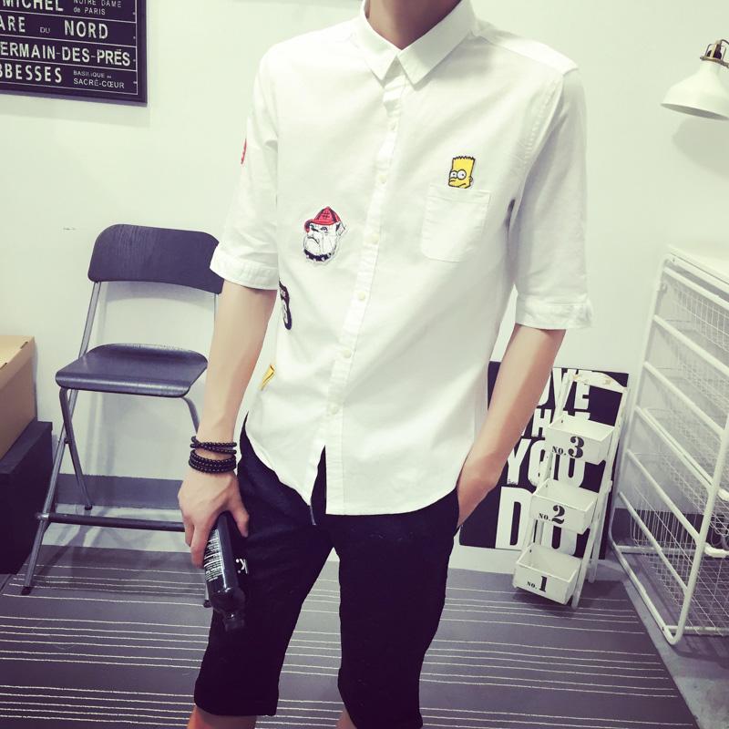 春夏男式亚麻衬衫日系男士修身七分袖棉麻衬衣中袖时尚短袖寸衫男