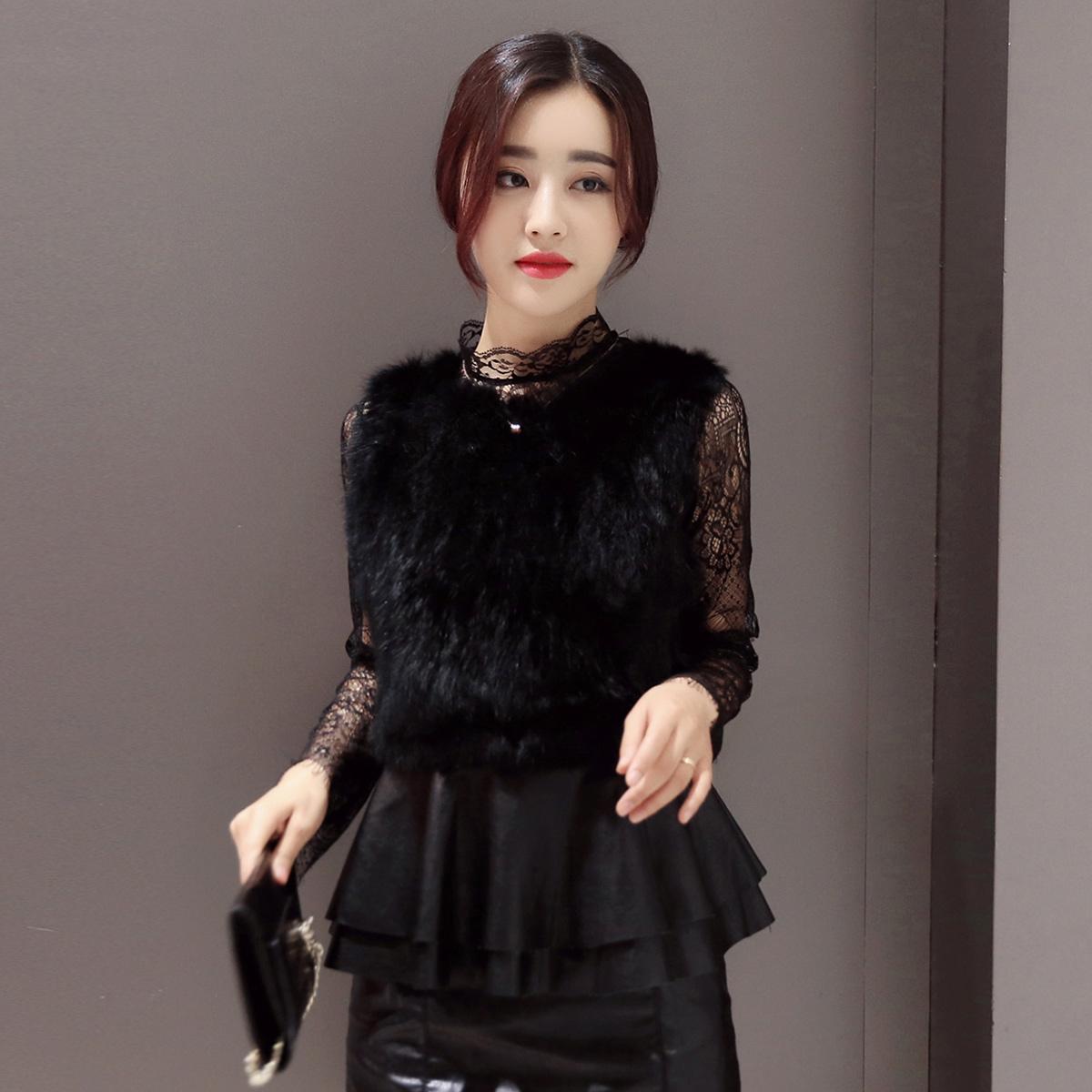 2017春装新款韩版时尚蕾丝马甲两件套显瘦压褶雪纺打底连衣裙套装