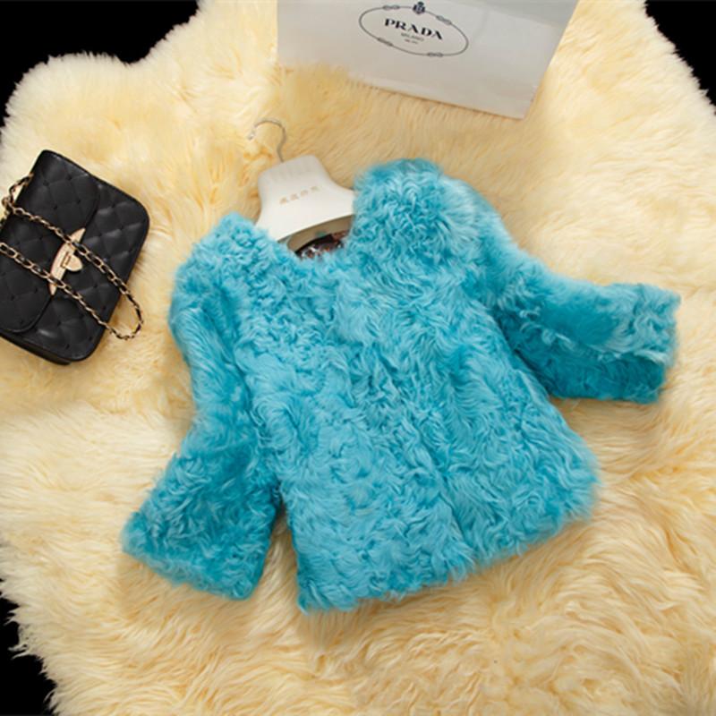 新款兔毛皮草外套短款 拼色蕾丝边进口整皮羊羔毛领皮草外套女冬