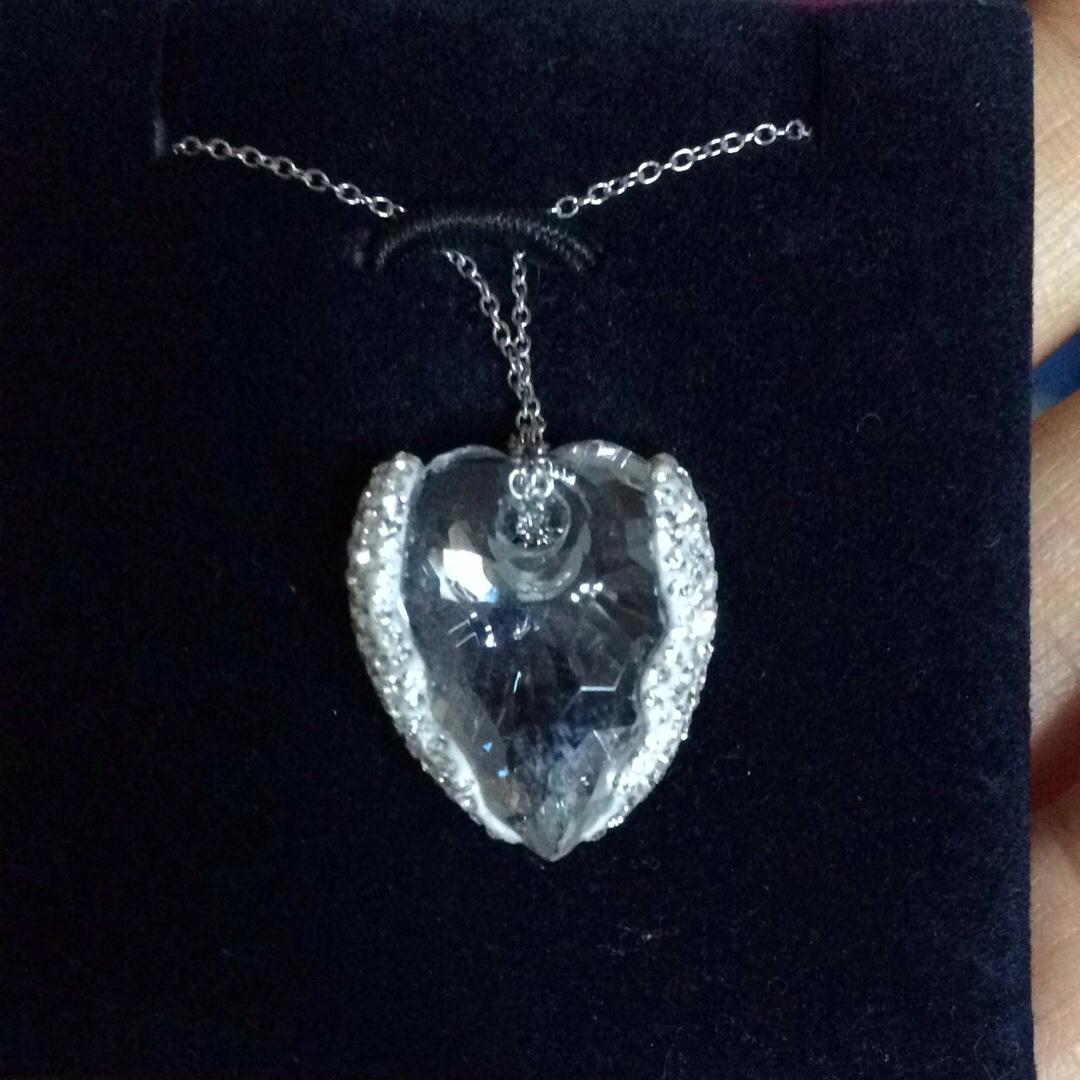 Сваровски классический море синий сердце ожерелье новый