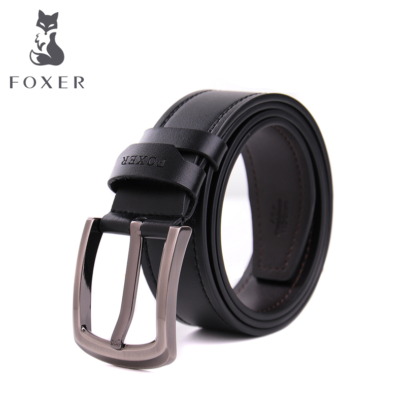 FOXER pure leather needle new men's belt buckle men's belt business casual Joker Korean youth belt boom