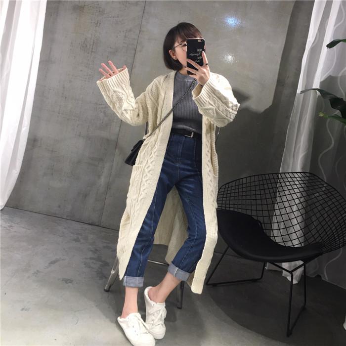 秋装款韩版女装超长款纯色宽松大码针织衫中长款开衫毛衣外套秋季