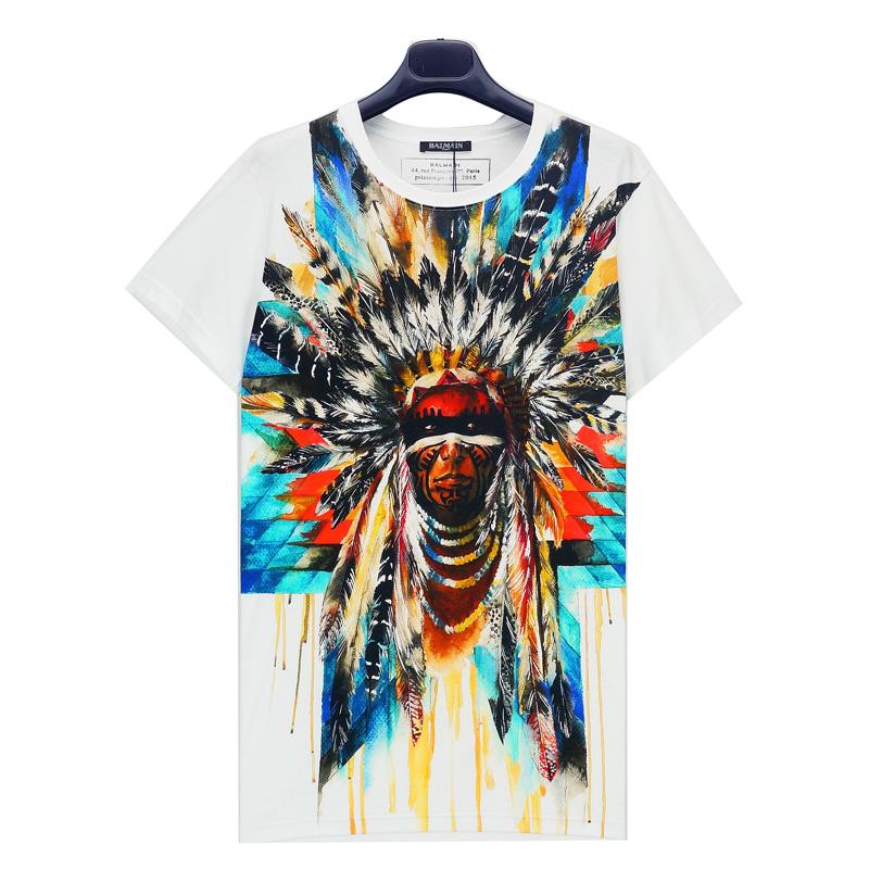 比波王子男士休闲短袖t恤 欧美风印第安人印花af超大号半截袖体恤