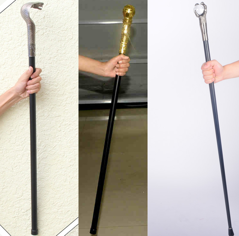 halloween props weapon golden king scepter snake head crutches show wand a rubbish law scepter