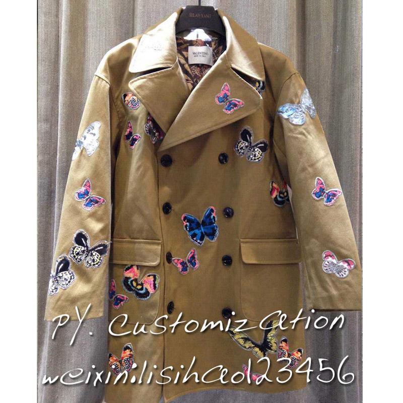 高端定制 欧美新款华伦家刺绣满身蝴蝶大口袋 情侣款男女外套夹克