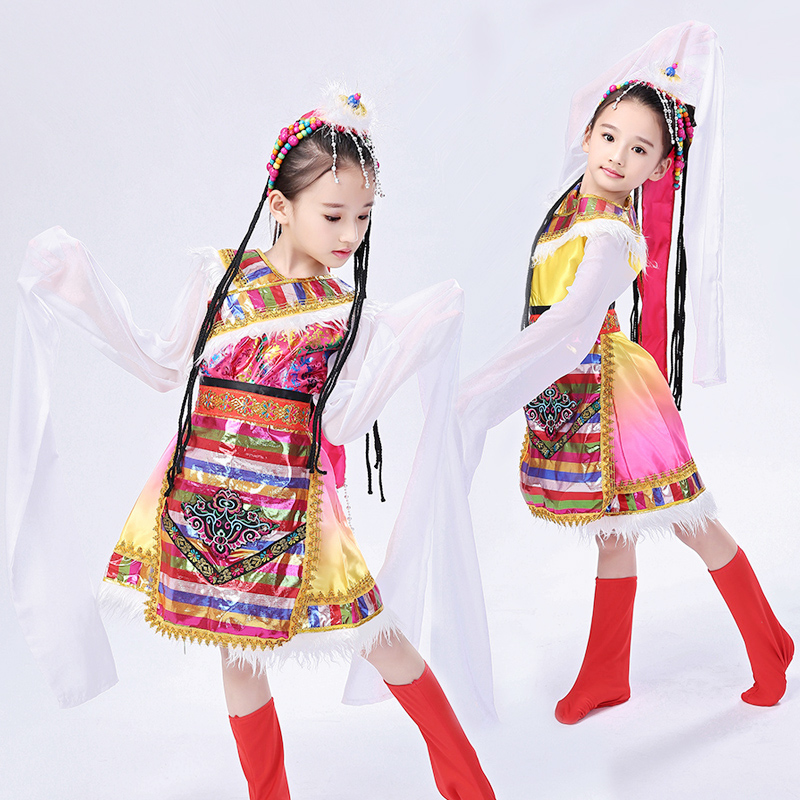 89d7aefb8 Children's Tibetan costumes girls adult long-sleeved national costume  minority Mongolian stage performance clothing