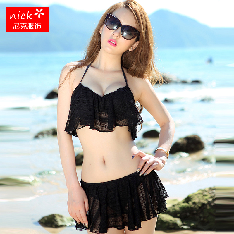 3f0c086360 Black and white small fragrance bikini women thick small chest steel plate gathered  sexy lace skirt split spa swimsuit - BuyChinaFrom.com - Buy China shop ...