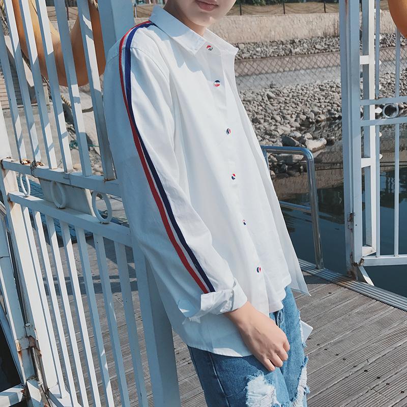 衬衫男士长袖秋季韩版潮流帅气寸衫修身白色衣服外套衬衣男装文艺