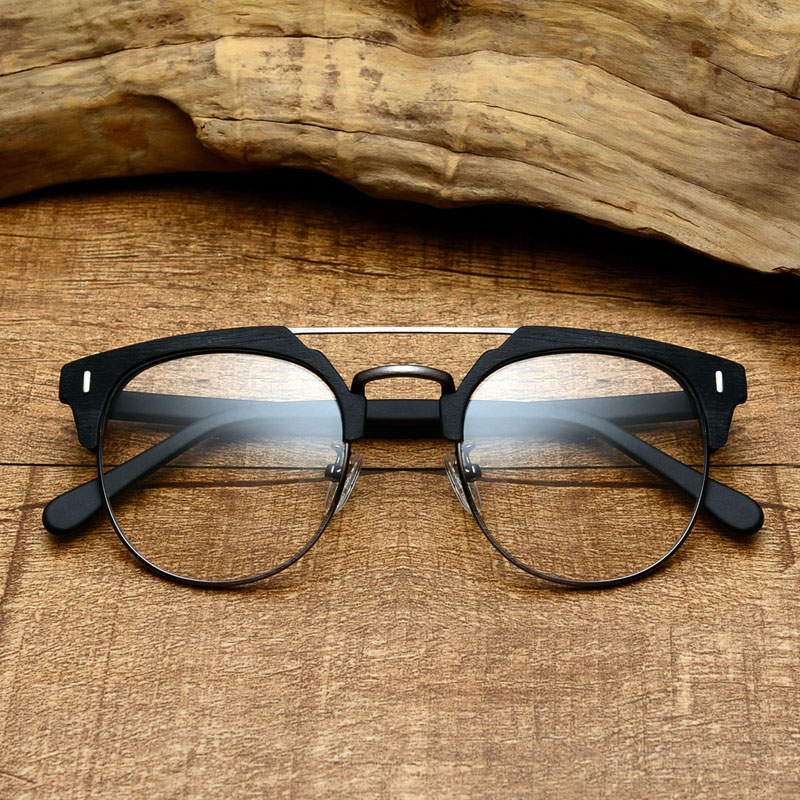 7ecfe330bc Retro wooden glasses frame male large frame double beam imitation wood  grain plate eye frame round