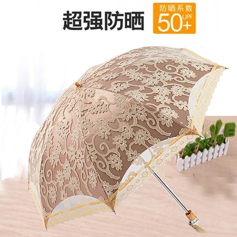 韩国公主蕾丝遮阳伞黑胶太阳伞女防紫外线晴雨伞折叠三折创意防晒