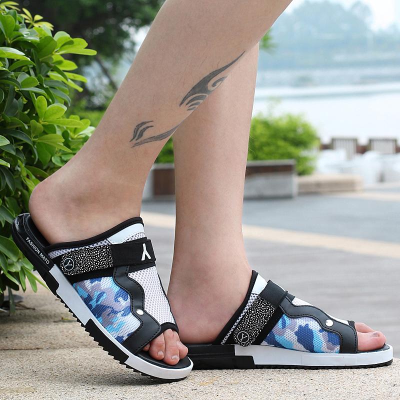夏季男士日常休闲凉鞋网面镂空透气洞洞鞋软底耐磨英伦潮鞋手工鞋