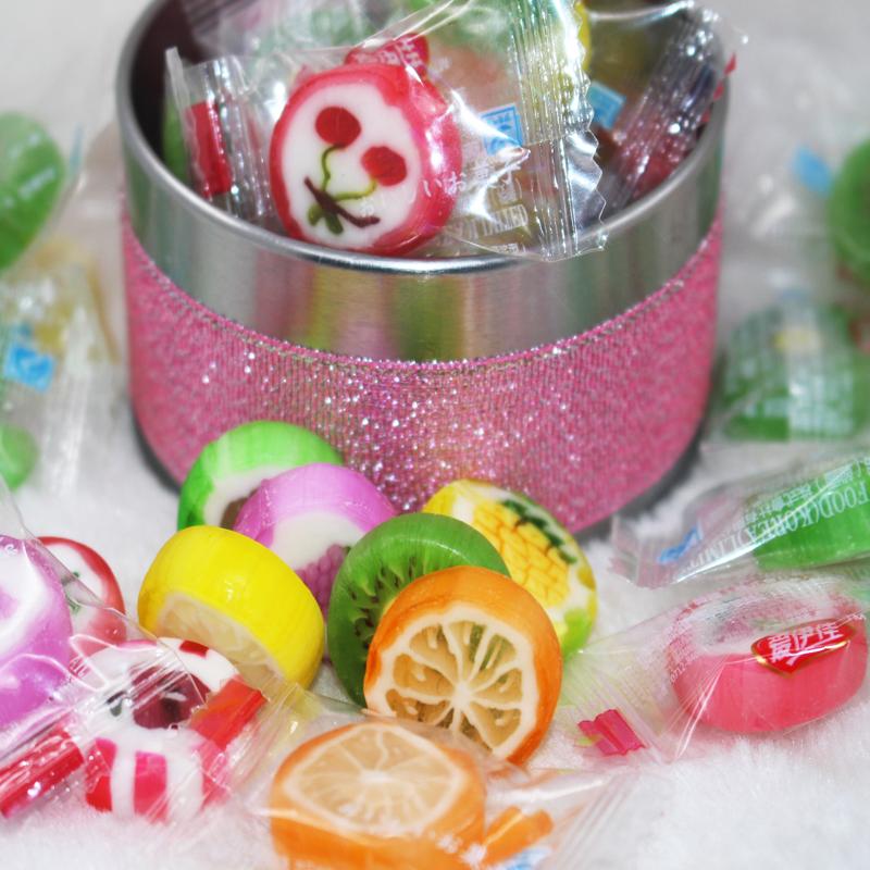 喜糖批发爱伊佳切片水果糖硬糖500g约116颗手工帖零食结婚喜