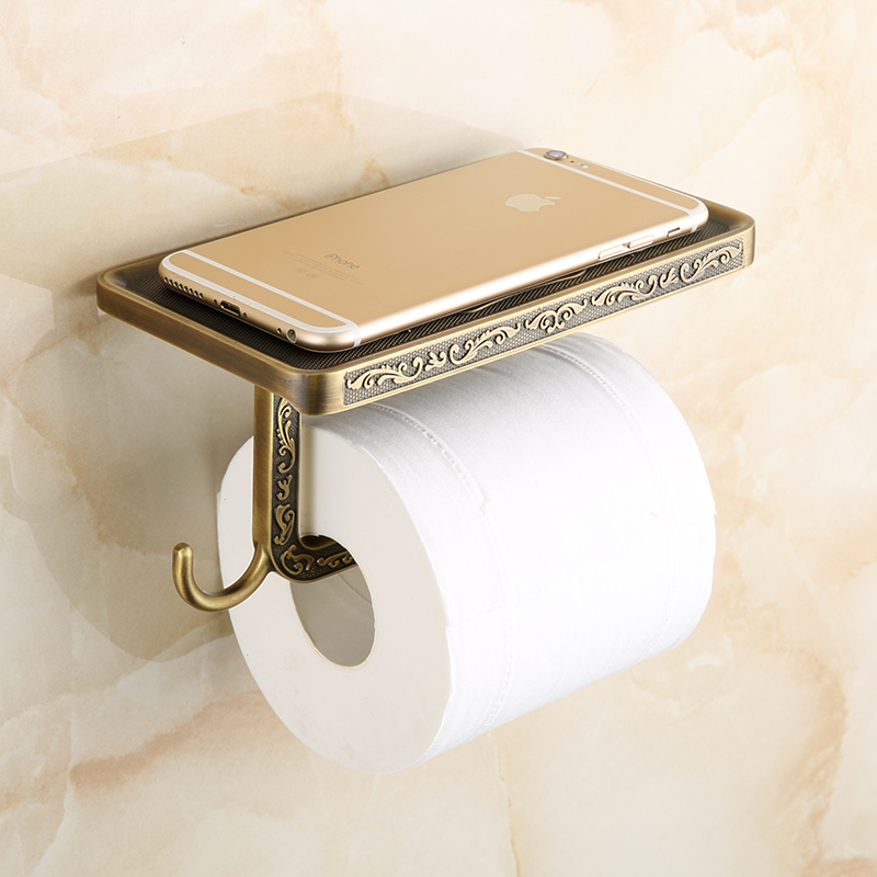 European Antique Paper Towel Rack Toilet Holder Retro With Mobile Phone