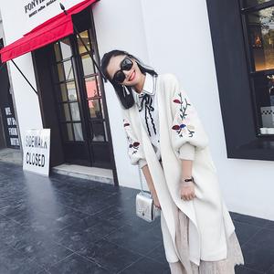 新款韩版休闲刺绣毛衣开衫 女针织衫外套