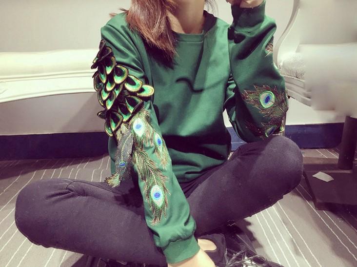 香港IT代购明星同款鹤影天使翅膀手工刺绣男女亲子情侣款卫衣上衣