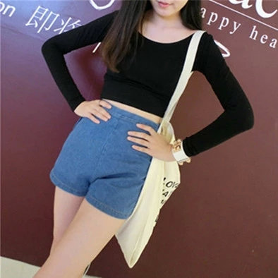 露脐上衣长袖短款t恤女秋短装紧身条纹高腰体恤纯棉性感漏肚脐装