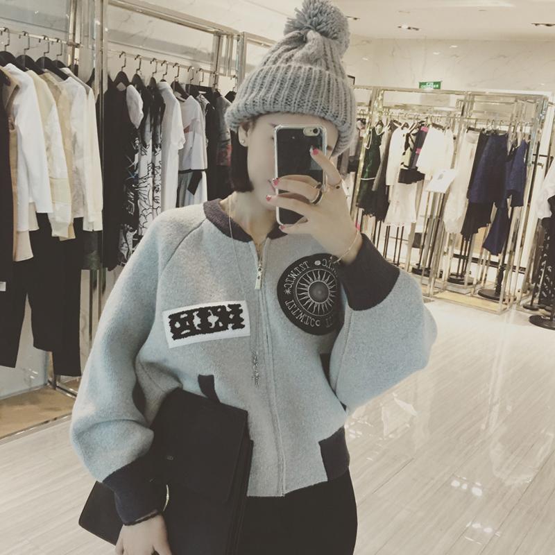秋冬新款韩版外套女短款加厚加绒印花夹克开衫显瘦棒球服女棉服衣
