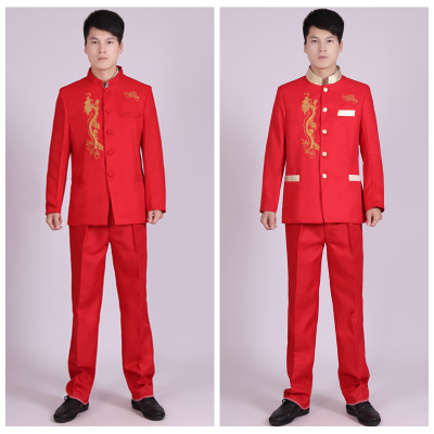 Men's dress, classic red, embroidered dragon, Chinese tunic, photo studio, red song, old Choir costume.