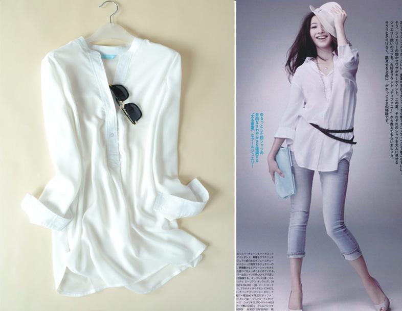 日本小众贵牌 外贸原单 纯白造型款雪纺衬衫 宽松版型 衬衫 女