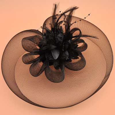 Wedding Party Hats ockey Club Hats and Headwear Retro-English Wind Feather Head Flower Hair Ornament Black and White Studio Wedding Dress Hair Clip