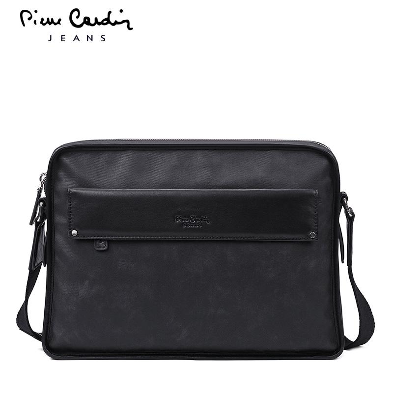 皮尔卡丹商务休闲时尚单肩包 潮流男包竖款斜挎新品商务男士包包