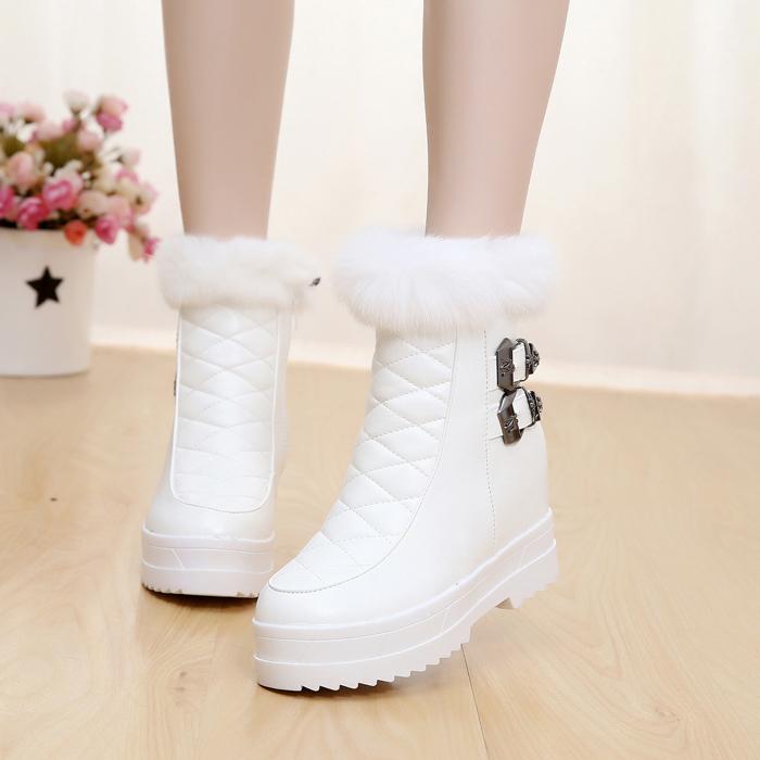 15秋冬款真皮米白色高跟鞋真兔毛短靴子细跟及裸靴加绒带毛毛女鞋