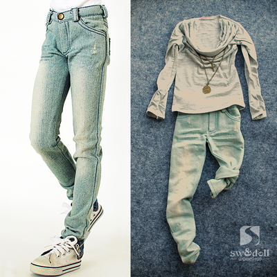taobao agent BJD jeans polished holes, faded washed jeans, uncle 3 points 4 points SD baby with member factory goods