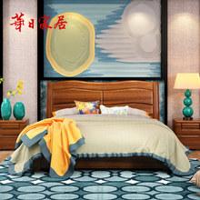 华日家居金丝檀木卧室套装 箱体床 床头柜