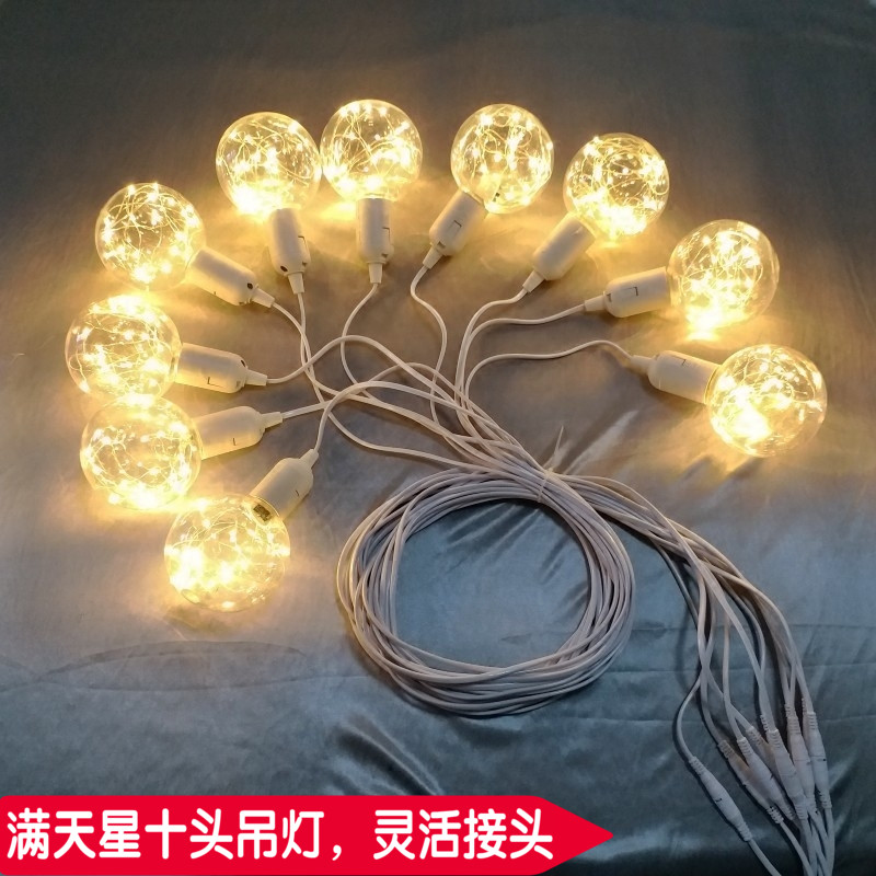 Hot star ball chandelier wedding 10 stars dragon beads lamp Wedding Check-in table background welcome area copper Lamp