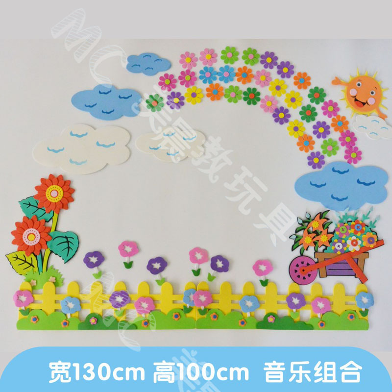 Primary school kindergarten classroom culture bar wall decoration bubble  blackboard Rainbow Flower theme stickers