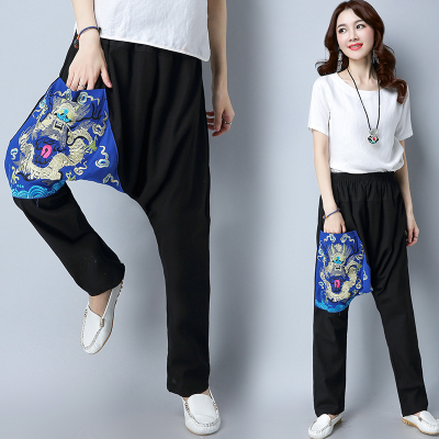 2017 new women's cotton national wind wild Dragon Embroidered large crotch pants casual pants