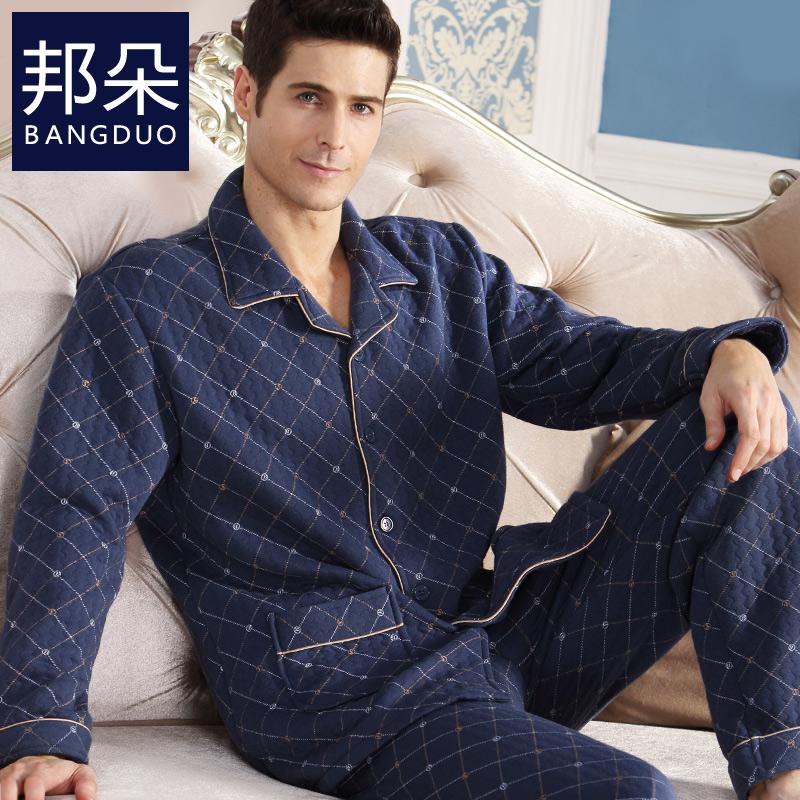 冬季全棉男男士秋冬款夹棉中老年厚薄纯棉男式中年加睡衣款家居服