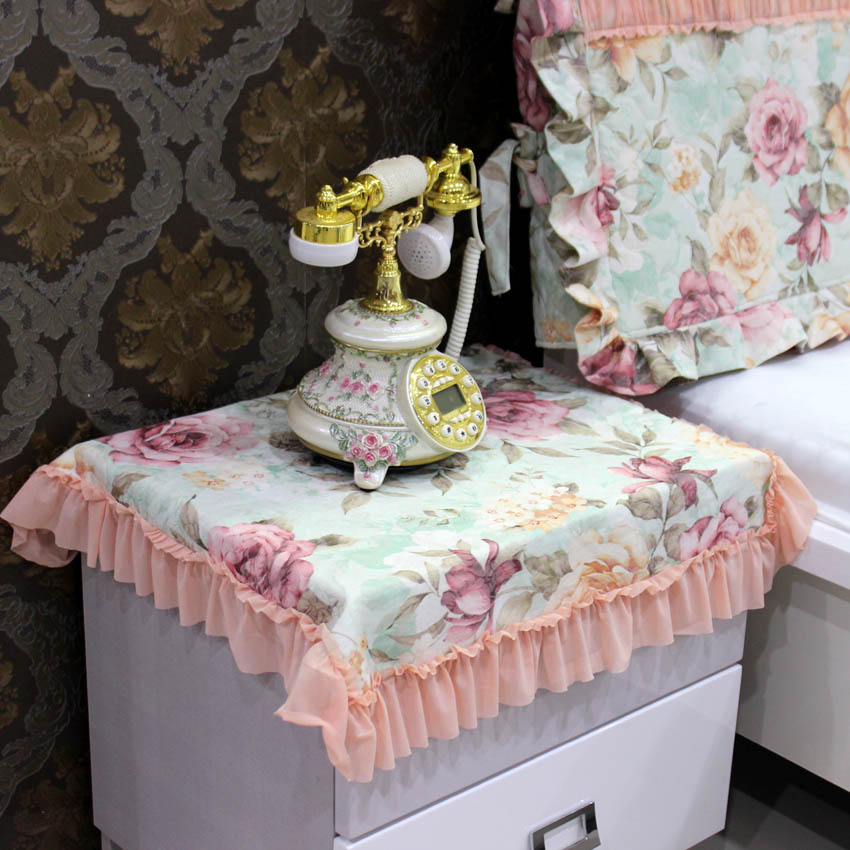Bedside Table Cover European Fabric Lace Past Mat Cloth Tablecloth Dust Refrigerator Square Multi Purpose Towel
