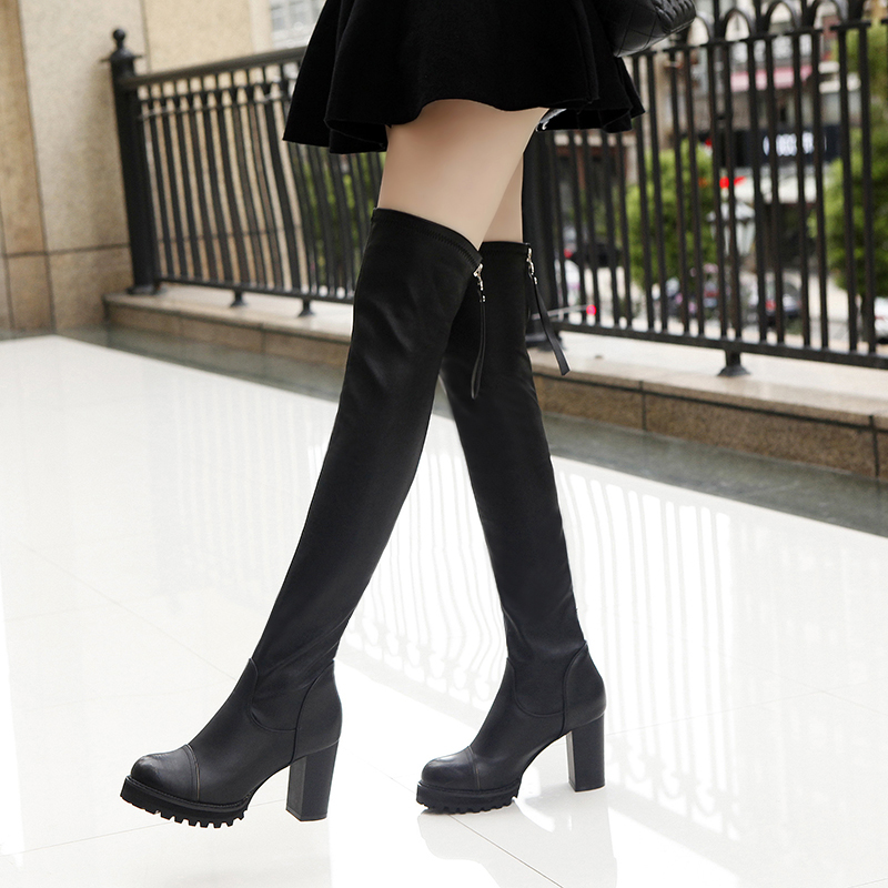 948b7107e56 2019 new fashion ladies tall long boots knee boots stretch boots rough with women s  boots high-heeled stovepipe boots