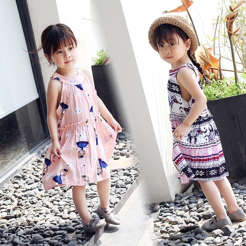 女童装夏装2018新款中小童夏季儿童绵绸连衣裙子棉绸沙滩宝宝女孩