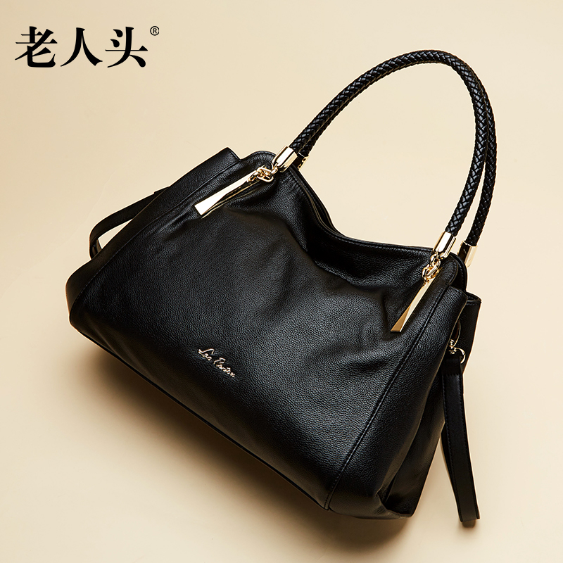 Head of the elderly woman Baotan shoulder bag 2018 New leather bag, European and American fashion messenger bag Lady bag handbag