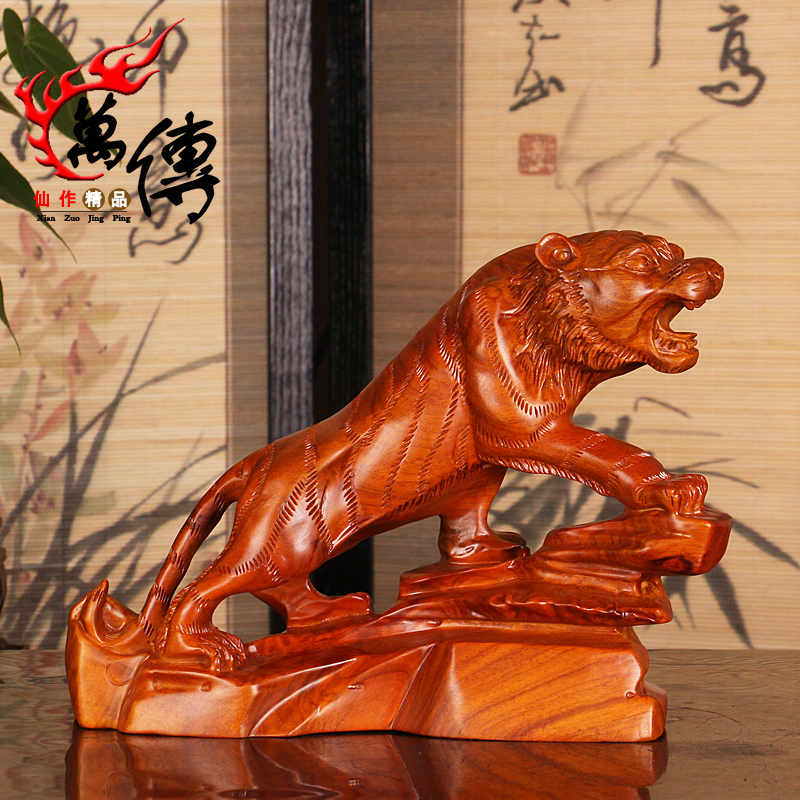 Wood Carving Tiger Ornaments Rosewood Zodiac Mahogany Home Gifts Crafts Jewelry