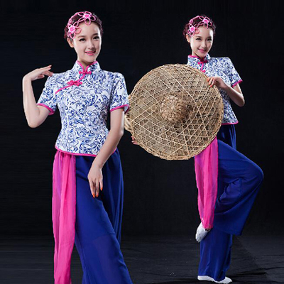 Chinese Folk Dance Costumes Yangko Clothes Blue and White Porcelain Performing Clothes Women Fan Dance Classical Dance Clothes Drum Clothes
