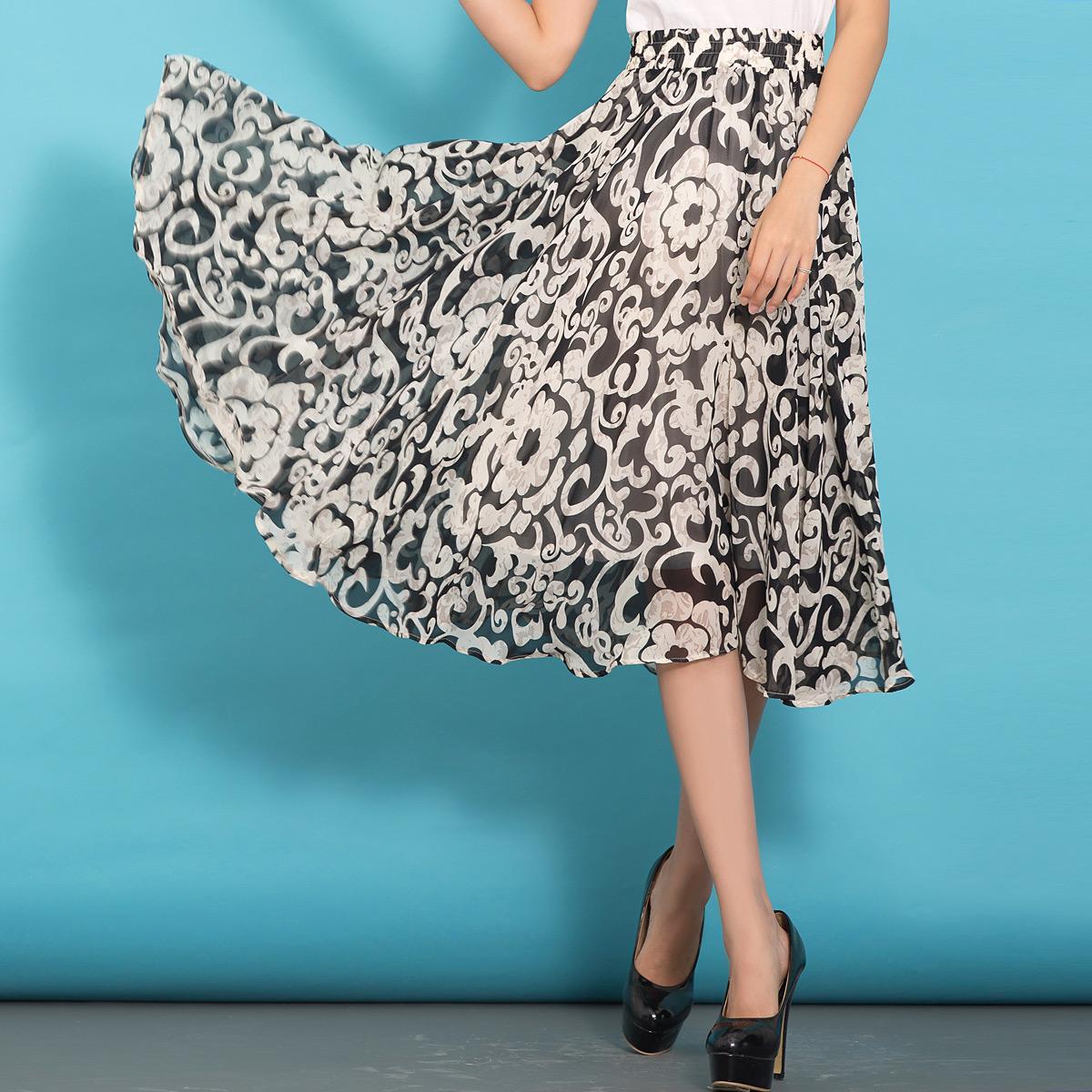 印花雪纺裙夏半身裙中长款大摆裙修身半裙松紧腰中长裙夏季a字裙