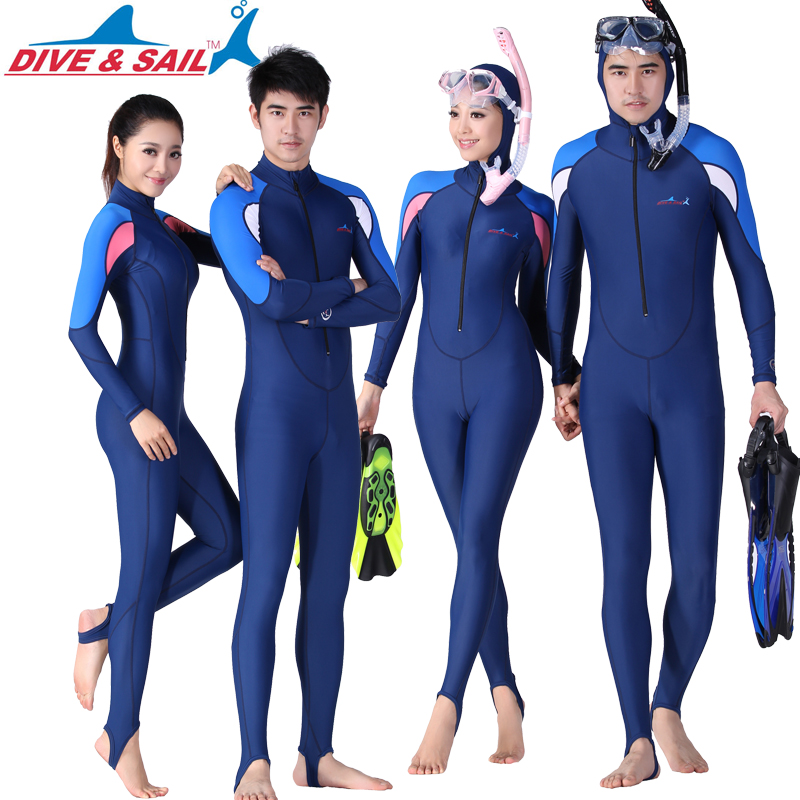 66a921c24a8 Couple thin section split sunscreen diving suit men and women hooded winter  swimsuit snorkeling suit adult Siamese surfing jellyfish clothing
