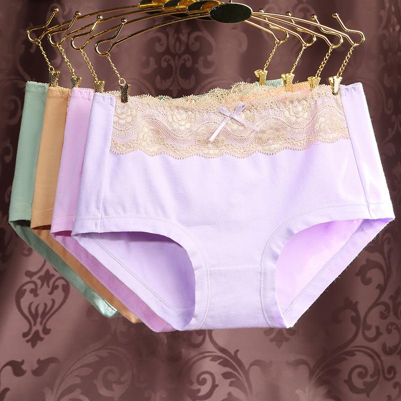 5条装 内裤女纯棉蕾丝中腰简约大码收腹提臀透气三角裤女士内裤