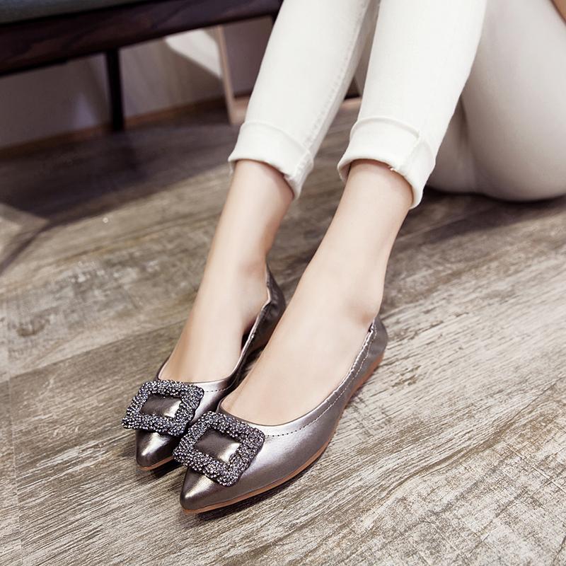 方扣水钻平底单鞋女夏镂空透空花平底平跟单鞋软底孕妇鞋