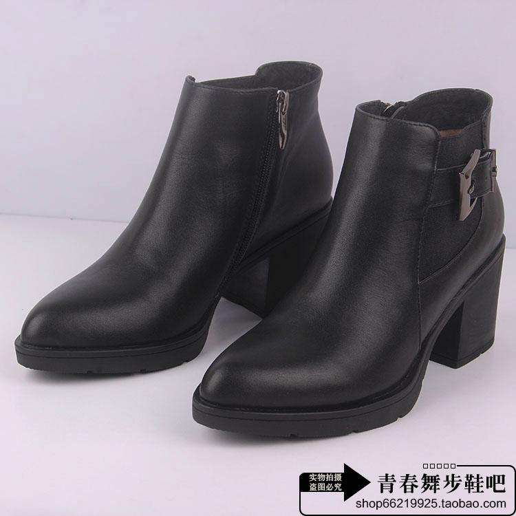 哈森短靴2015秋冬新款真皮细高跟尖头女靴子时装靴马丁靴HA56416
