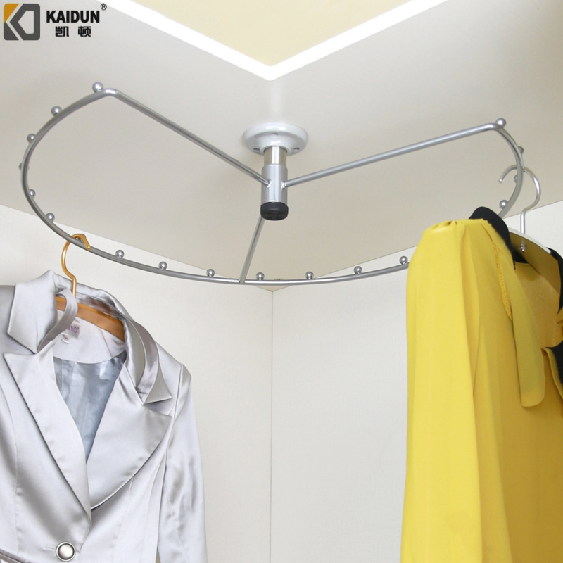 Caden Wardrobe Pull Basket 360 Degree Rotating Clothes Hanger Corner Hanging Pole Multifunctional Hangers