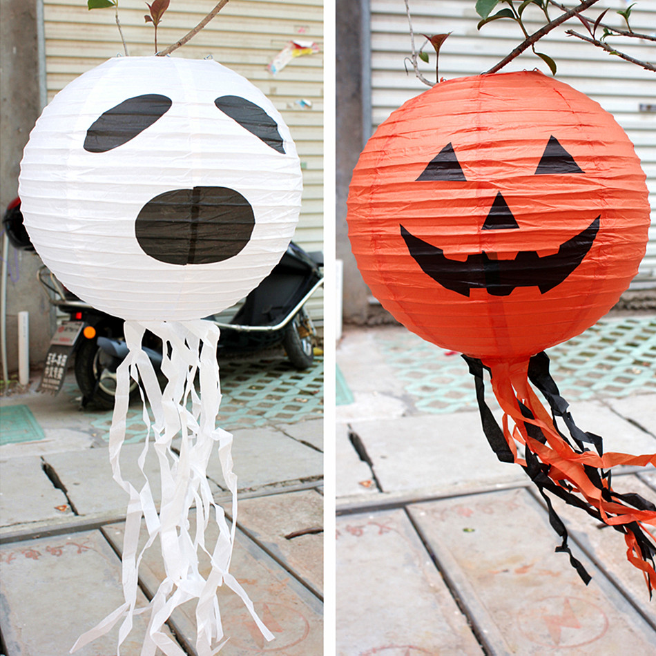 Lin Fang 60g Halloween lantern dress up supplies pumpkin lantern Jack Lantern with pumpkin paper lantern